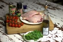 Ingrediënten voor ragu van eend