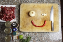 Leg ui, knoflook en peper klaar