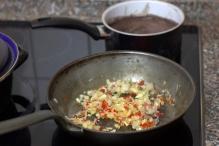 Fruit knoflook en rode peper met de ui