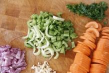 Snijd de groenten