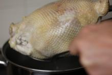 Haal de kip uit het kokende water