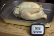 Steek de thermometer in het dikste stuk van de kip achter de poot