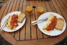 Vouw het ei dubbel en leg tomaten salsa op het ei. Opdienen met toast en jus